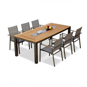 9 pc Teak Steel Dining Set – Signature with Batyline Stacking Chairs