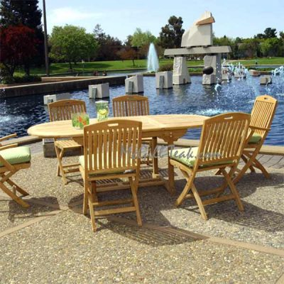 7 Pc Teak Table and Folding chair Dining Set – Aegean Table and NewYork Chairs