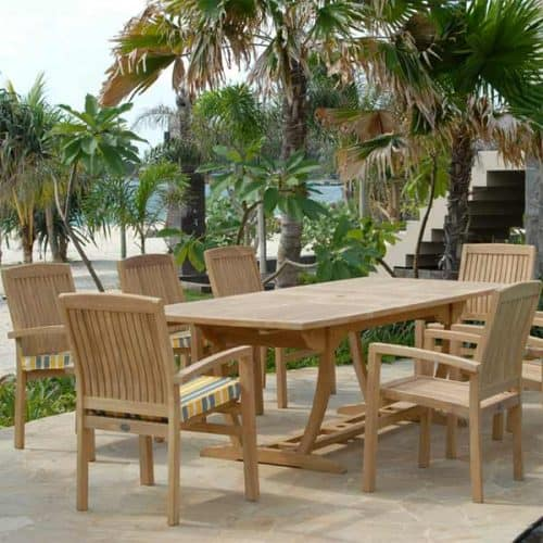 Agean teak table with tenafly chairs