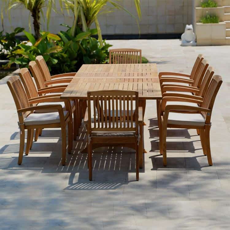 11 Pc Teak Outdoor Dining Table Set
