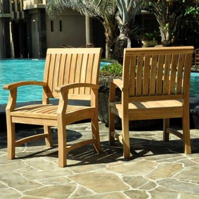 7 Pc Teak Patio Dining Table Set – Aegean Rectangle Table with 2 Arm & 4 Titan Chairs