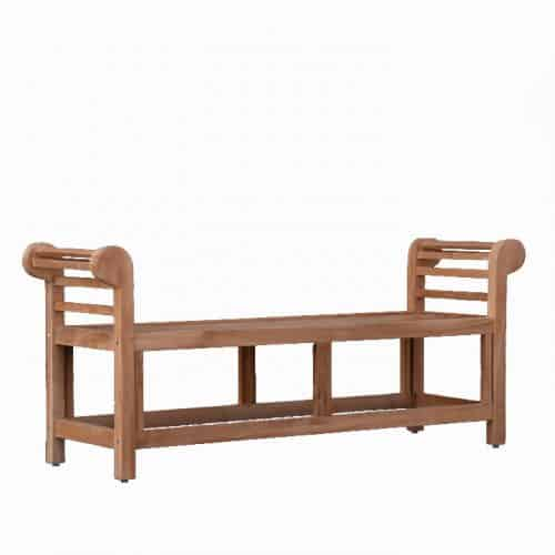 Teak backless bench with arms- Lutyens