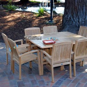 9 pc Teak Patio Square Table Set – Mardel Table & Tenafly Stacking Chair