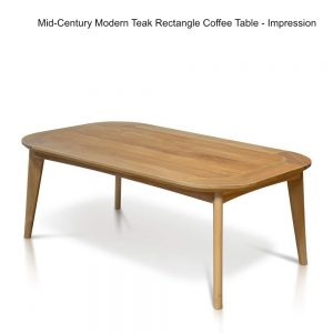 Midcentury Modern Teak Outdoor Rectangle Coffee Table – Impression