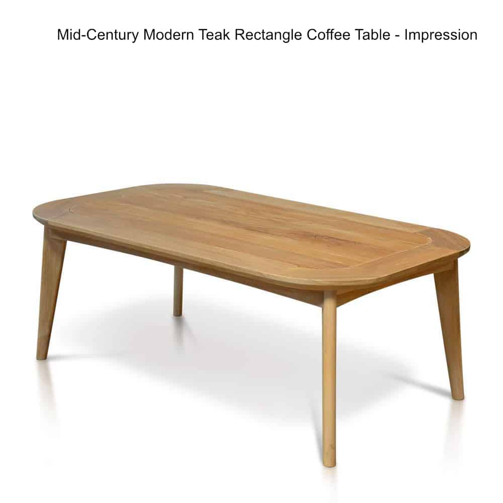 Midcentury Modern Teak Outdoor Rectangle Coffee Table Impression