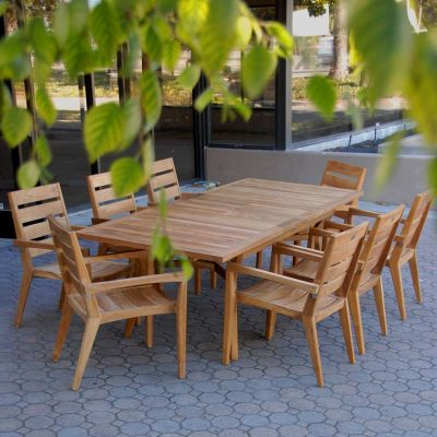 8 Seated Mid-Century Teak Table Set – Olga rectangle table with Olga stacking chairs