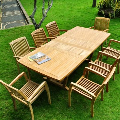 9 Pc Teak outdoor Dining Table set – Milano Rectangle table & 8 Blaze stacking chairs