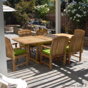 7 Pc Teak Patio Dining Table Set – Aegean Rectangle Table with 6 Arm Zaire Chairs