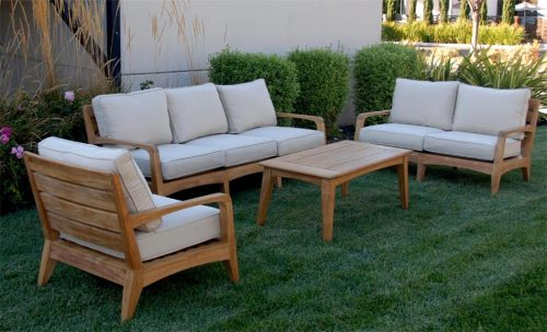 Teak deep seating set with chair