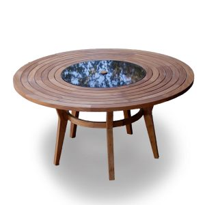 5 feet Granite-Teak Round Outdoor Dining Table – Olga