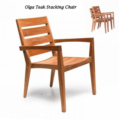7 Pc Teak Outdoor Dining Table Set – Round Olga table and Olga stacking Chairs