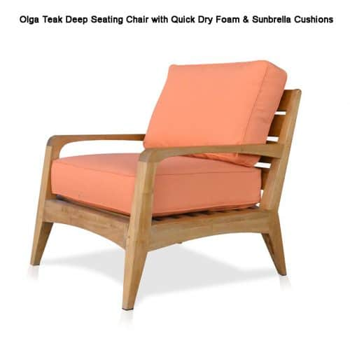 Teak deep seating chair