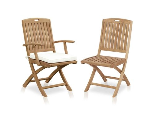 Teak folding arm chair for outdoor use