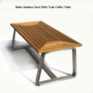 Teak Steel Outdoor Rectangular Coffee Table – Regnatt