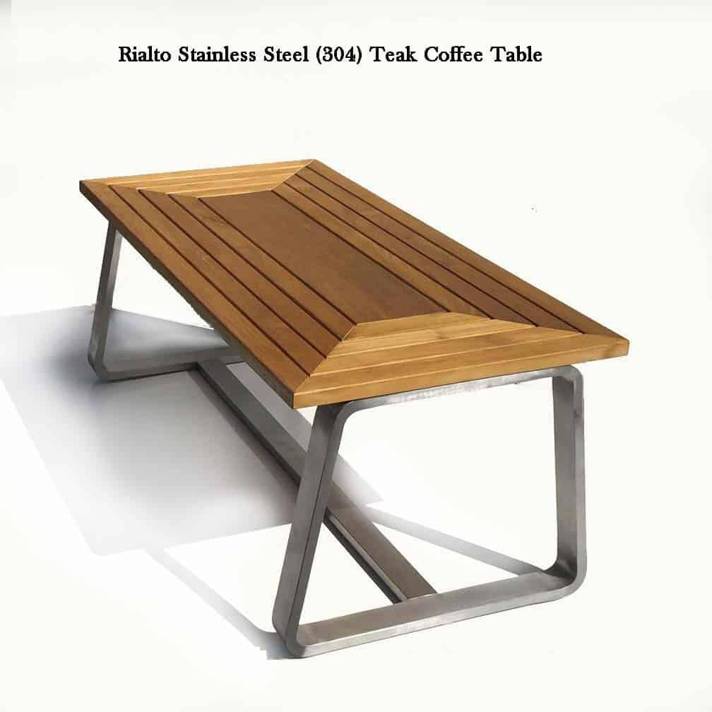 Rialto Stainless Steel Teak Coffee Table