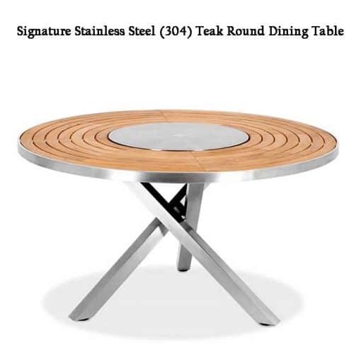 High grade teak steel round dining table