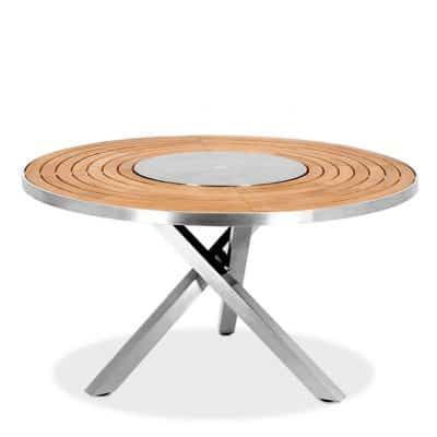7 Pc Stainless Steel Teak Round Table dining set – Signature Table with Alzette stacking Betyline Chairs