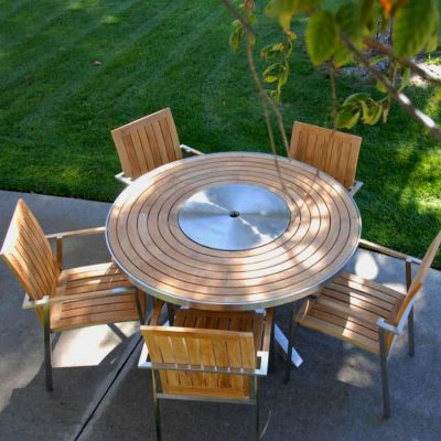 6 Pc Stainless Steel Teak Round Table dining set – Signature Table with Alzette stacking Chairs