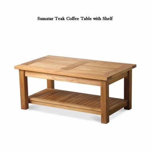Teak Outdoor Coffee table with shelf-1