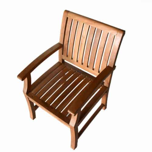 Outdoor dining arm chair made of teak wood