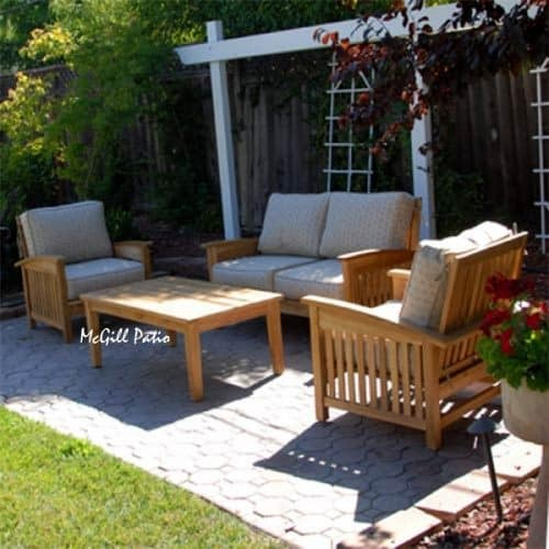 Teak deep seating love seat outdoor sumatra
