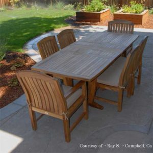 7 Pc Teak Patio Dining Table Set – Agean Rectangle Table with 2 Arm and 4 Side Zaire Chair
