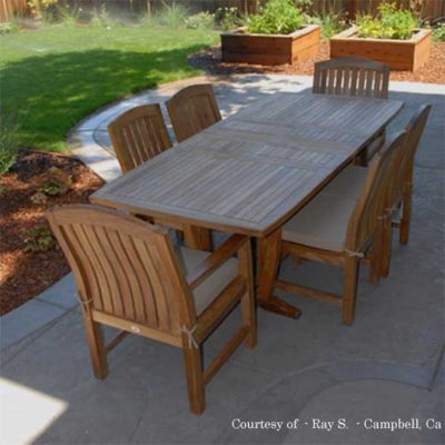 7 Pc Teak Patio Dining Table Set – Aegean Rectangle Table with 2 Arm and 4 Side Zaire Chair