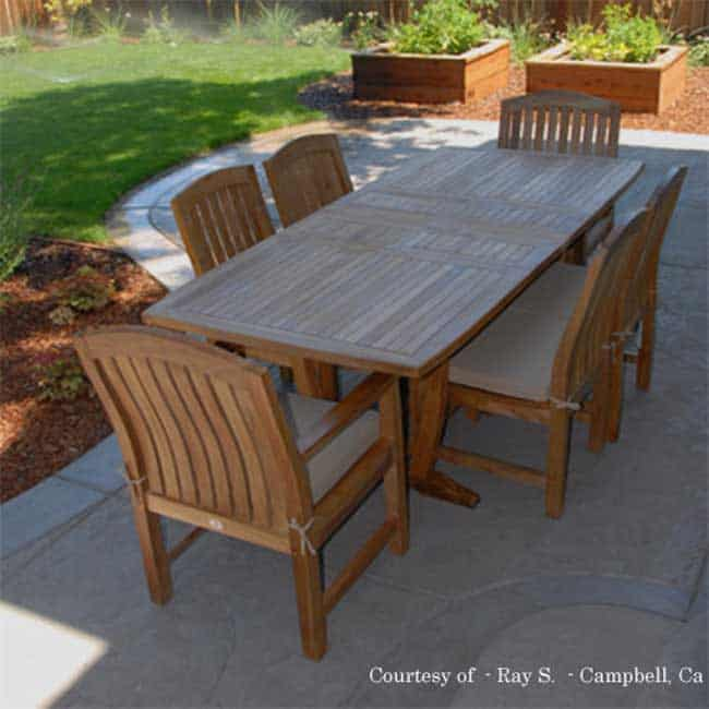 7 Pc Teak Patio Dining Table Set Aegean Rectangle Table With 2 Arm