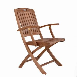 Teak Patio Outdoor Folding Arm Chair – New York