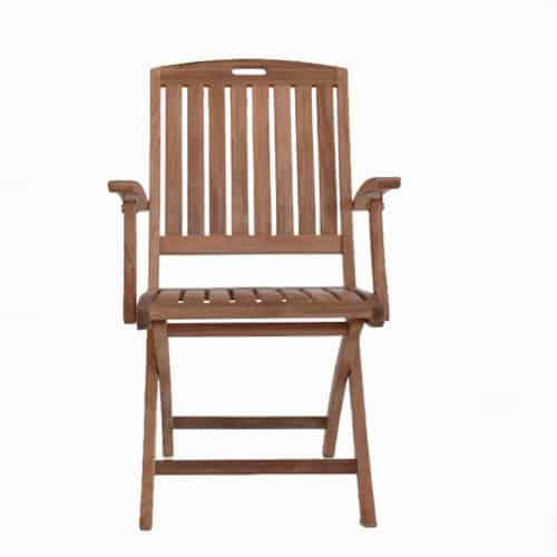 Teak folding patio arm chair