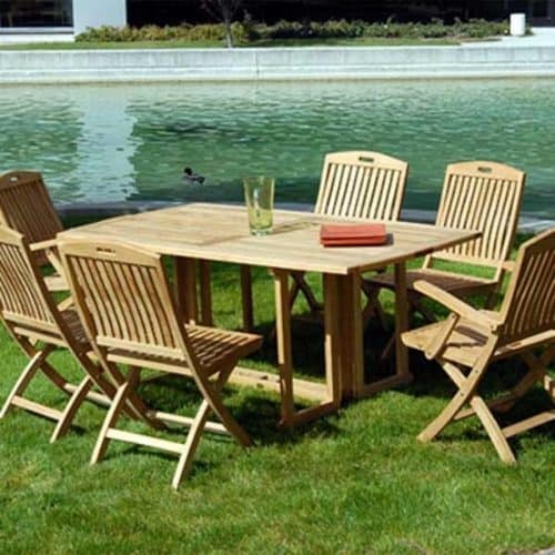Teak folding table and chairs Patio dining set