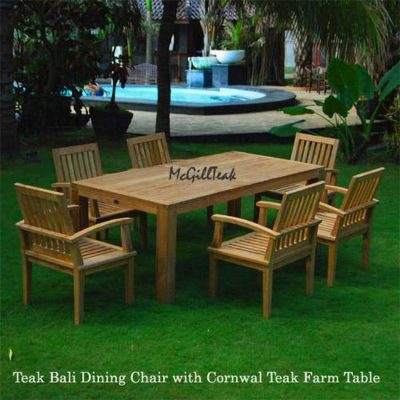 7 PC Teak Patio Farm Table and Arm Chair – Cornwal and Bali