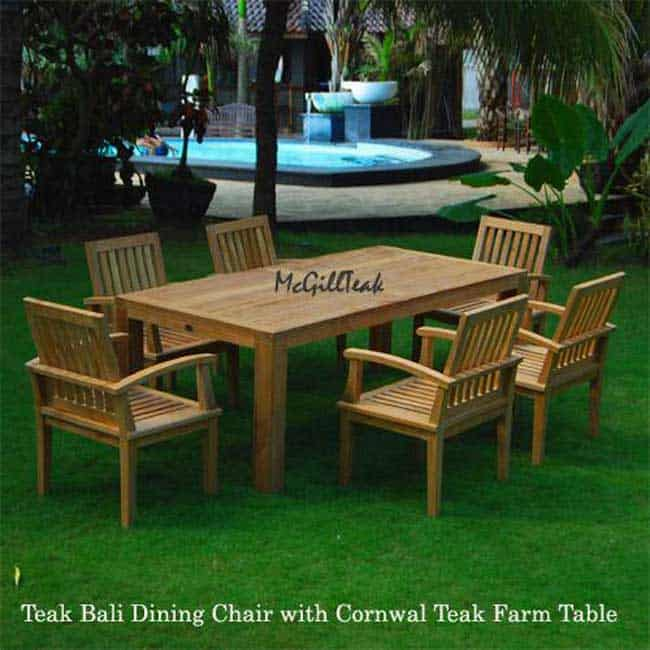 7 Pc Teak Patio Farm Table And Arm Chair Cornwal And