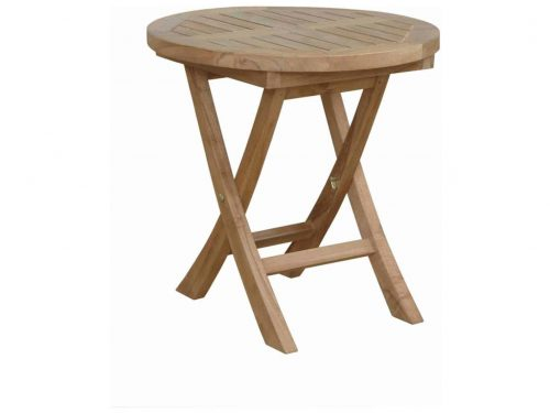 Teak outdoor folding round end table