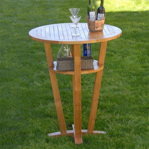 Teak round bar table