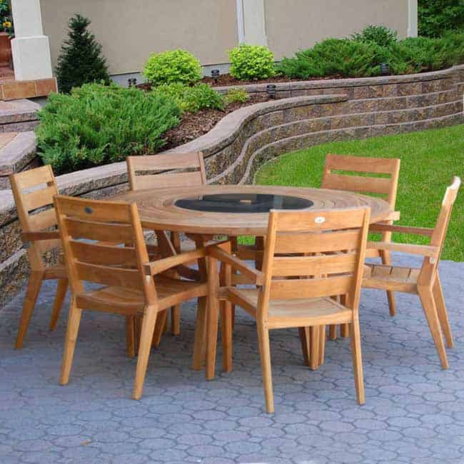 7 Pc Teak Outdoor Dining Table Set Round Olga Table And Olga Stacking Chairs