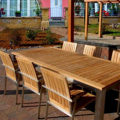 7 Pc Steel Teak Extension Table dining set – Signature Table and Alzette Chairs