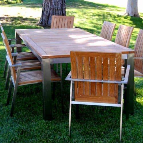 Teak steel outdoor dining table