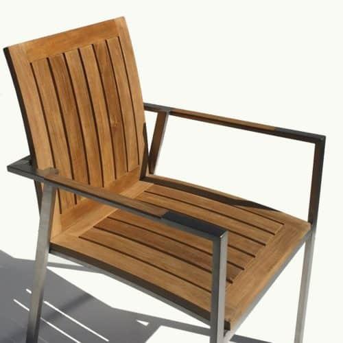 outdoor steel teak dining chair