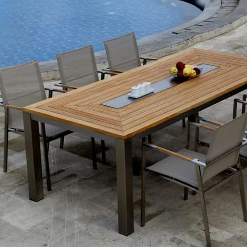 Teak steel dining table set