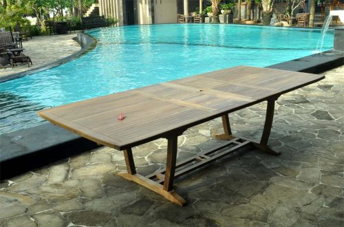 Teak double extension dining table