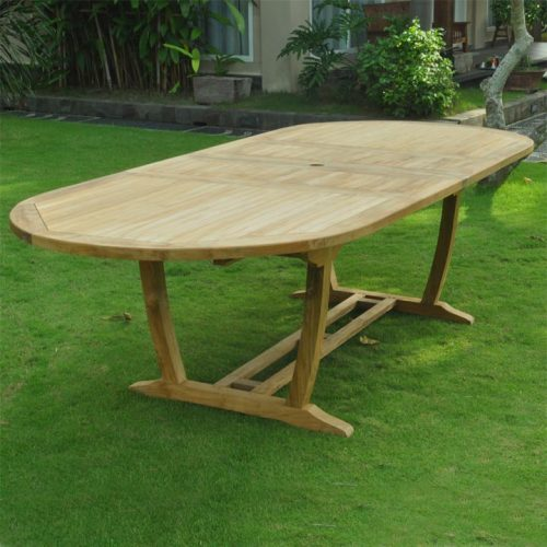 Teak double extension oval dining table