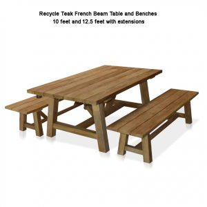 10-12.5 feet Recycled Teak Rectangular – French Beam Table – Rustic Natural Finish