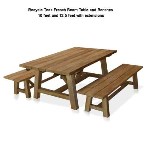 Recycled beam table set with two benches
