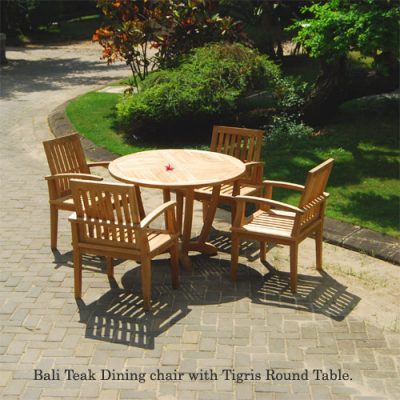 5 Pc Teak patio dining set, Tigris Table and Bali Chairs