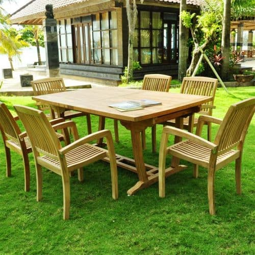 Teak rectangle table in dining set