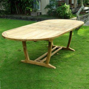 Teak extension table oval