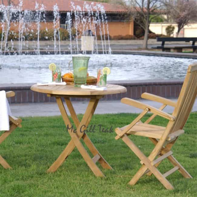 3 Piece Teak Outdoor Dining Set Folding Table And Folding Chairs
