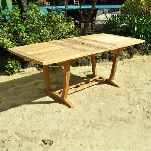 Teak outdoor rectangle extension table