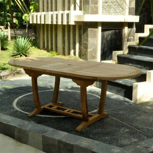 teak patio extension table oval